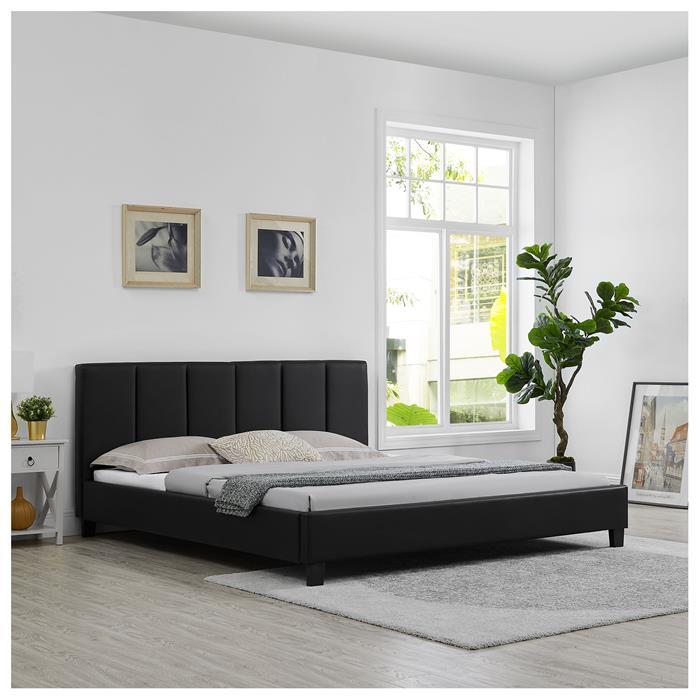 Polsterbett ROXY 180x200 cm, inkl. Lattenrost in schwarz