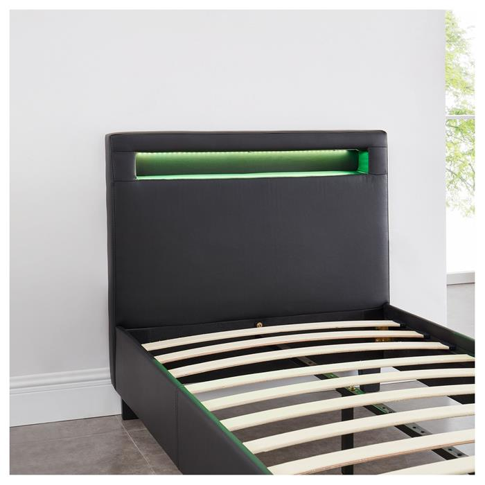 Polsterbett MANDALAY mit LED 90 x 200 cm, in schwarz