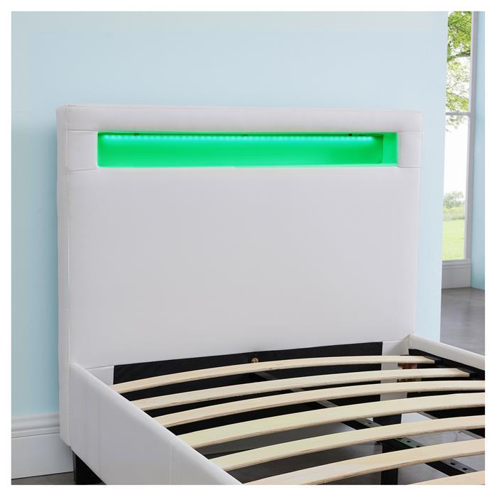 Polsterbett MANDALAY mit LED 90 x 200 cm, in weiß