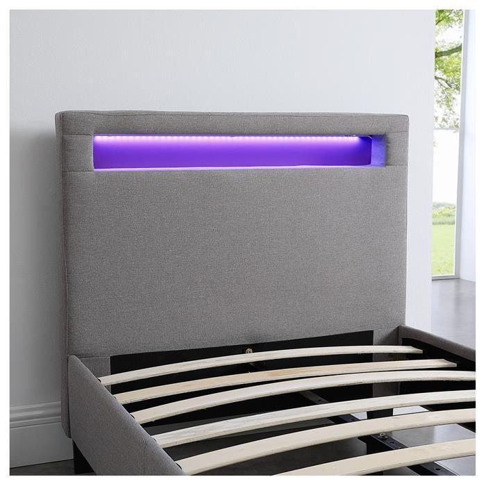 Polsterbett HIMALAYA mit LED 90 x 200 cm, grau