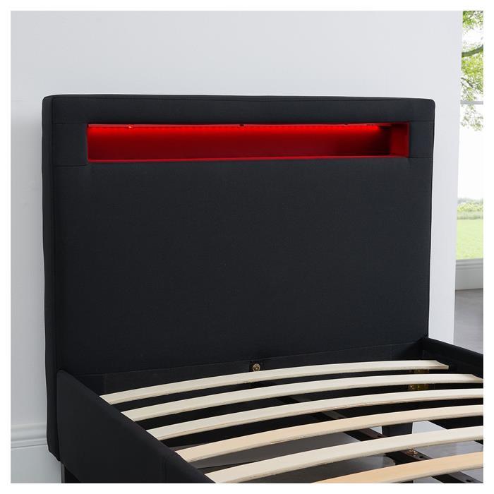 Polsterbett HIMALAYA mit LED 90 x 200 cm, schwarz