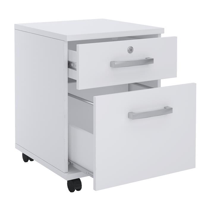 Rollcontainer ALBERTA mit Hängeregister in weiß, 2 Schubladen