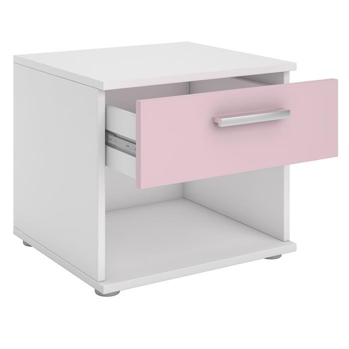 Nachttisch MARY weiß/rosa mit Schublade