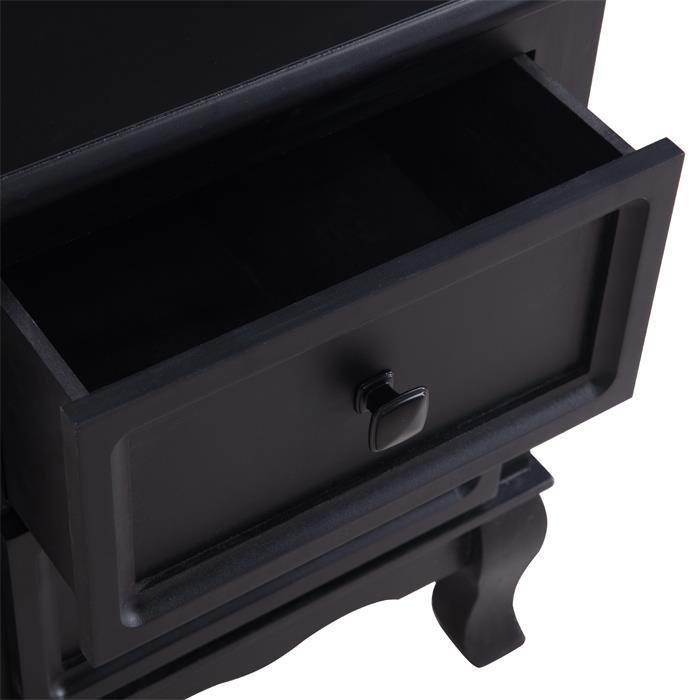 Nachtkommode ELEGANTE 2 Schubladen, in schwarz