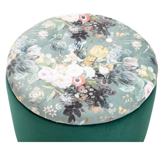 Hocker BONITO Samtbezug in grün mit Blumenmotiv