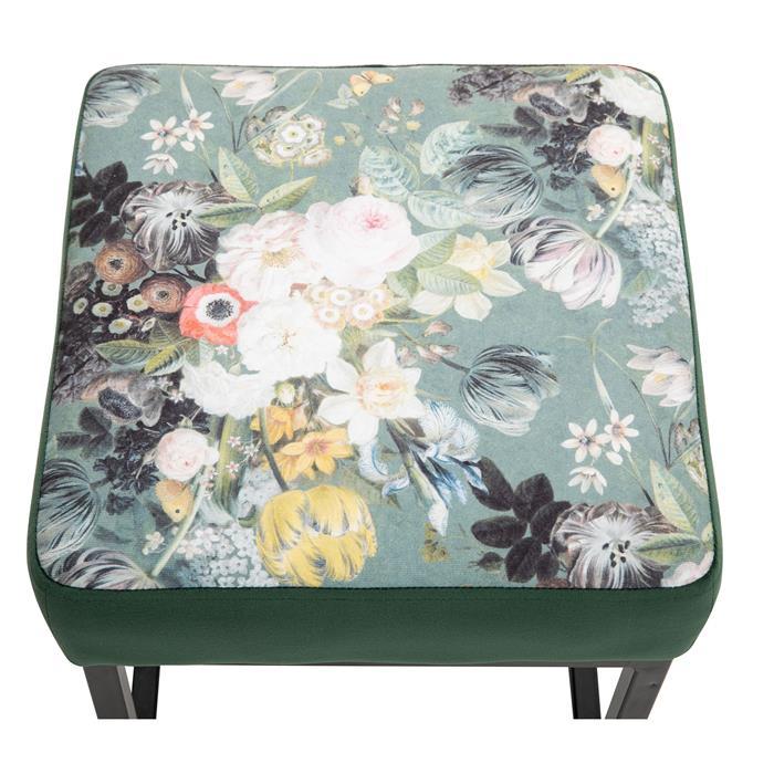 Hocker MARBELLA Samtbezug in grün mit Blumenmotiv
