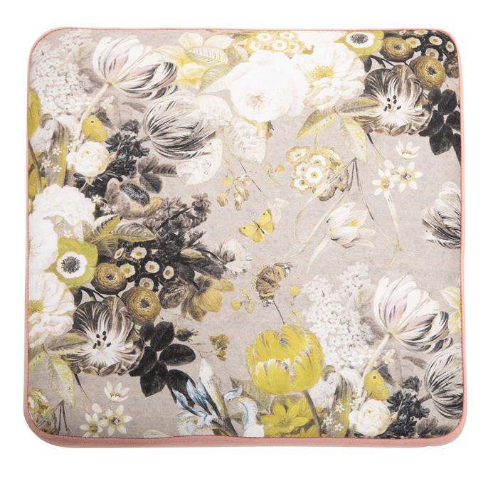 Hocker MARBELLA Samtbezug in kupferfarben mit Blumenmotiv