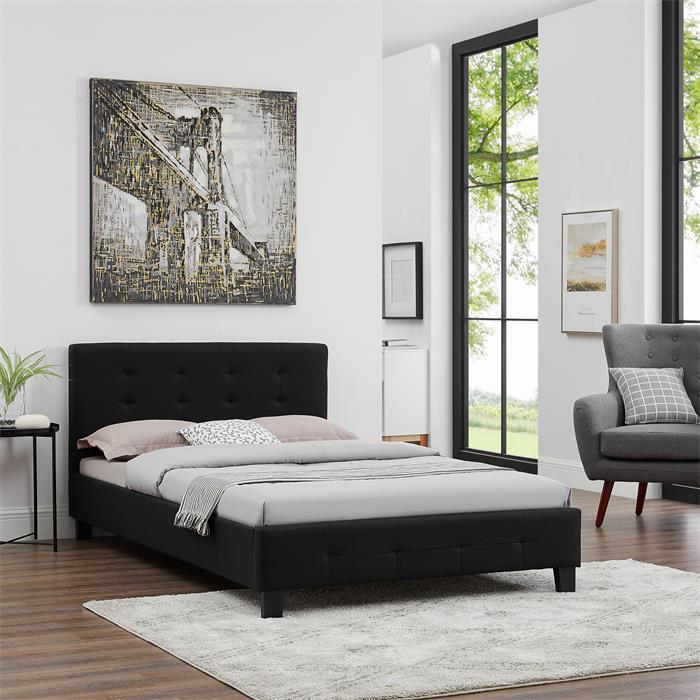 Polsterbett NEBRASKA 120 x 200 cm in schwarz