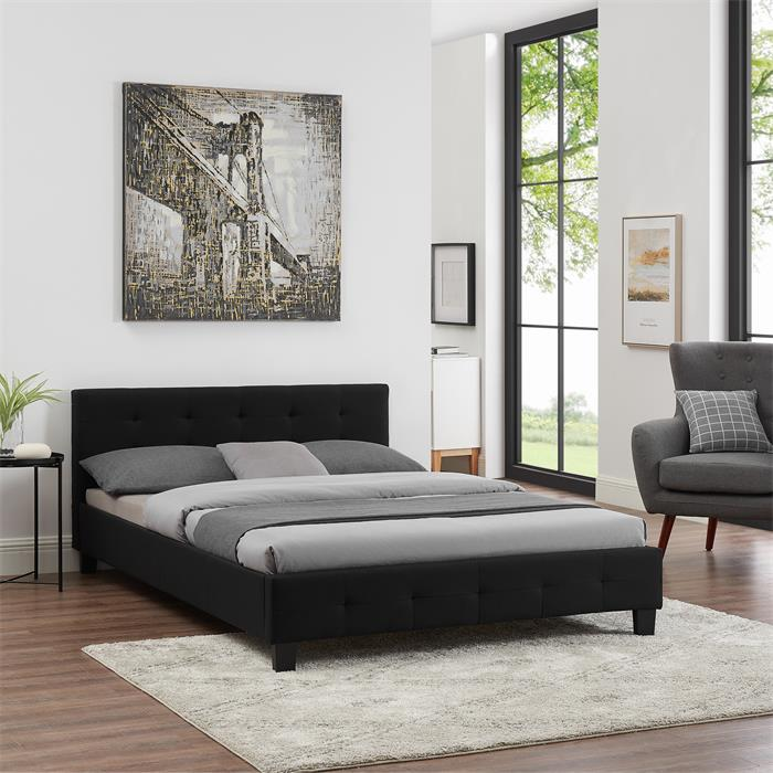 Polsterbett IOWA 140 x 200 cm, inkl. Lattenrost, schwarz
