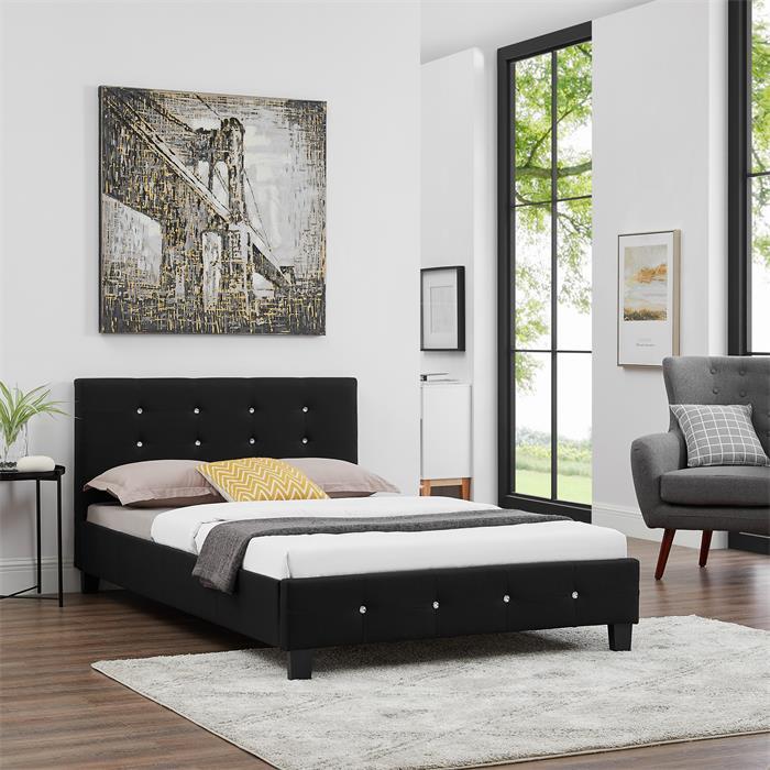 Polsterbett OKLAHOMA 120x200 cm, inkl. Lattenrost in schwarz