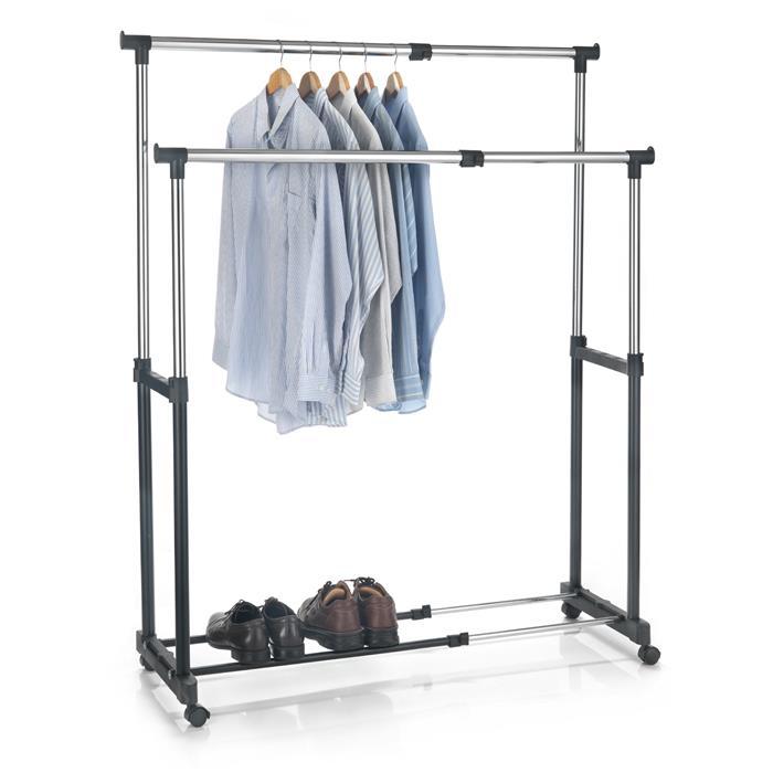 Garderobenwagen CASA in schwarz, 2 Kleiderstangen