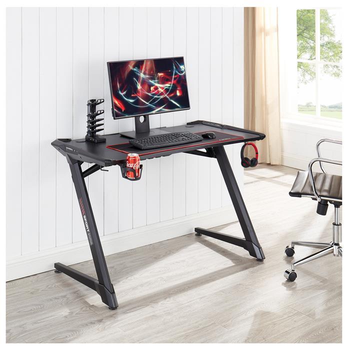 Gaming Tisch RUSH in schwarz mit LED Beleuchtung