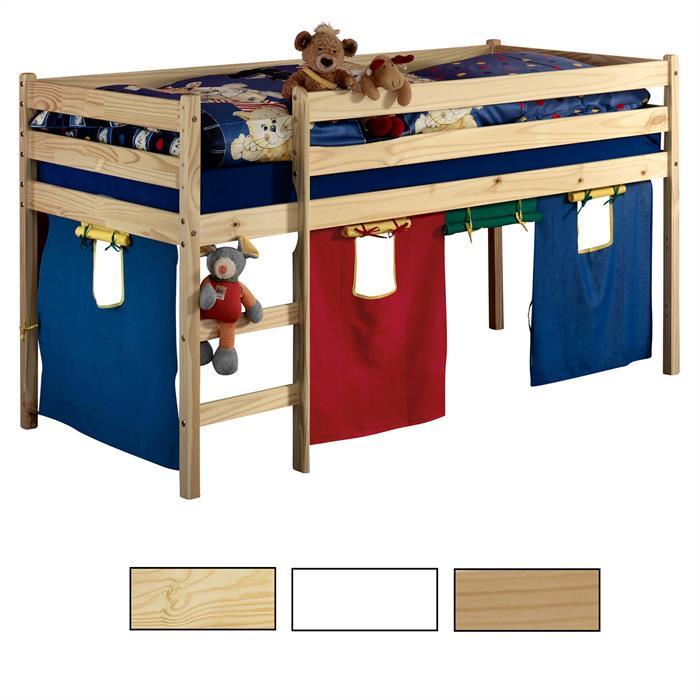Hochbett mit Vorhang, verschiedene Farben
