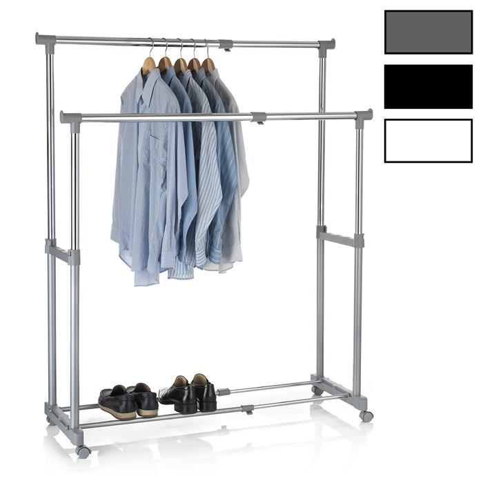 Garderobenwagen CASA in verschiedenen Farben, 2 Kleiderstangen