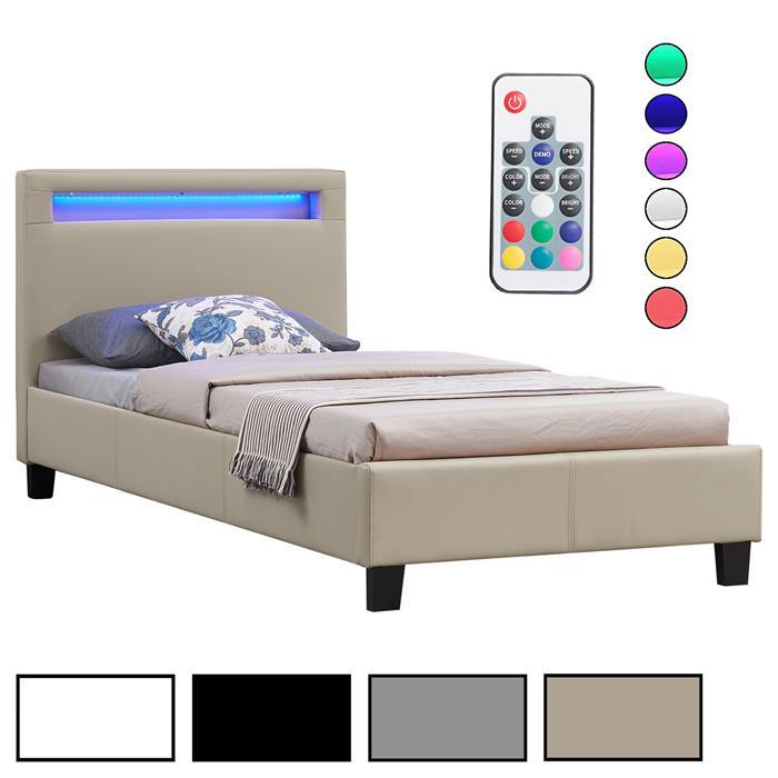 Polsterbett MANDALAY mit LED 90 x 200 cm, 4 Farben