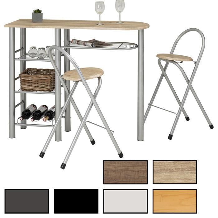 Bartisch mit 2 Stühlen und Ablagefächern in weiß