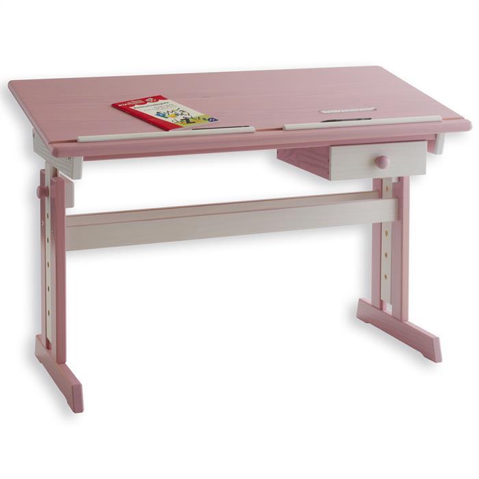 Verstellbarer Kinderschreibtisch ANNA in weiß/rosa
