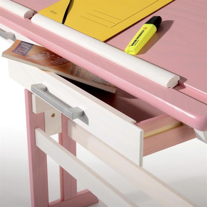 Kinderschreibtisch EMMA, höhenverstellbar in weiß/rosa