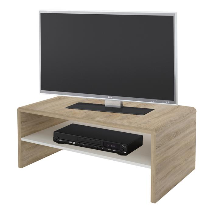 couchtisch tv lowboard fernsehtisch in sonoma eiche wei 100 x 60 cm mit ablage eur 48 95. Black Bedroom Furniture Sets. Home Design Ideas