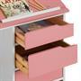 Kinderschreibtisch, Kiefer massiv weiß/rosa, neigungsverstellbar