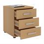 Bürocontainer TORONTO, 3 Schubladen in buchefarben
