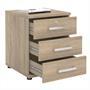Bürocontainer TORONTO, 3 Schubladen in Sonoma Eiche