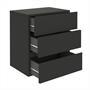 Hängeregal Nachtschrank ANNO mit 3 Schubladen in schwarz
