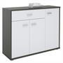 Kommode ESTELLE mit 3 Türen, 1 Schublade in grau/weiß