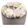 Hocker BONITO Samtbezug in grau mit Blumenmotiv