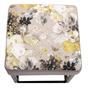 Hocker MARBELLA Samtbezug in grau mit Blumenmotiv